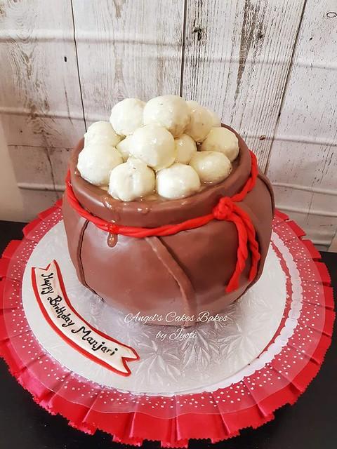 3D Shaped Rasgulla Pot Cake by Jyoti Kumbhar of Angel's Cakes Bakes