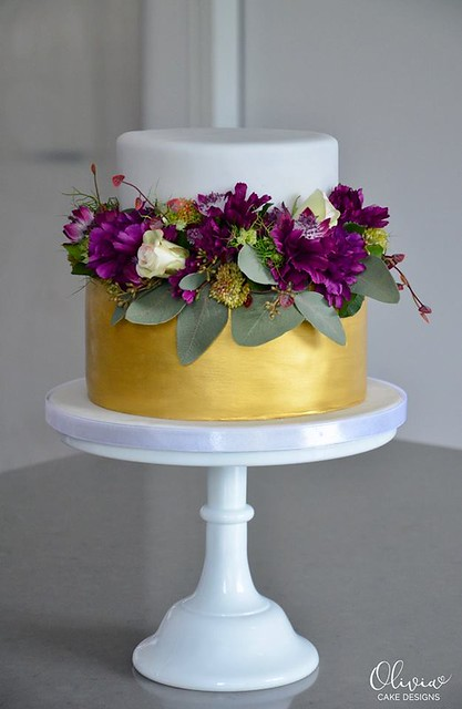 Purple and Gold Cake by Olivia Cake Designs