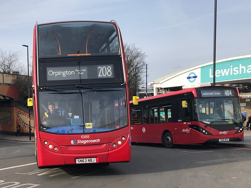 Another long route out of Lewisham and one facing a summer contract change. | Stagecoach London Enviro 400 working the 208 to Orpington, Perry Hall Road.
