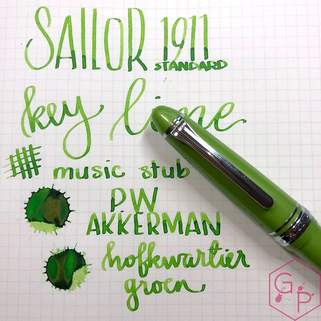 Sailor 1911S Key Lime Fountain Pen Music Nib 17