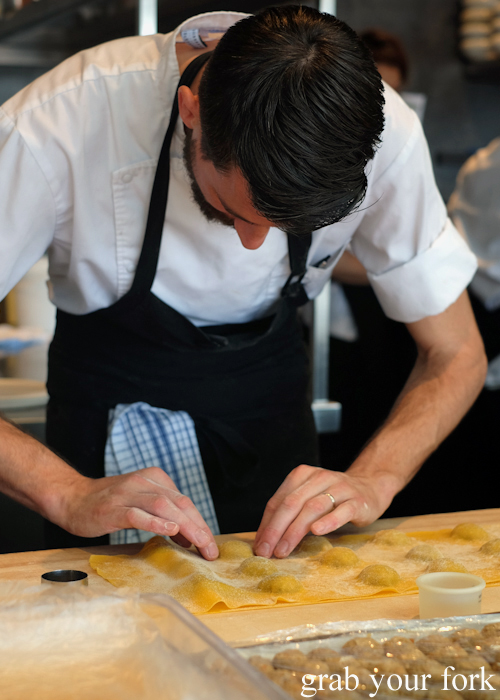 Making pork and preserved lemon ravioli at LuMi restaurant in Pyrmont Sydney