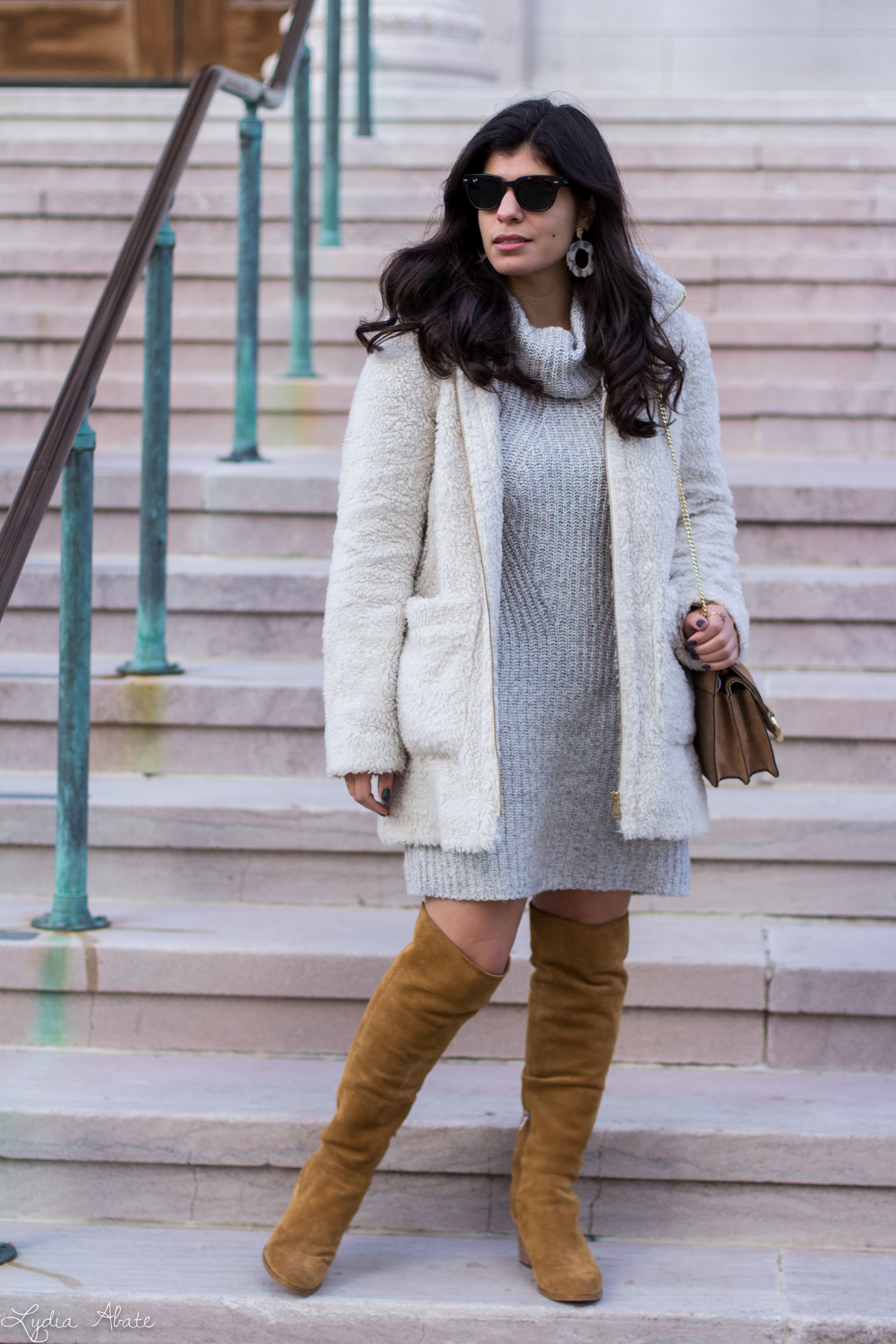grey sweater dress, white teddy coat, over the knee boots-7.jpg