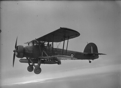 Fairey Swordfish Mk I  from 785th Royal Navy Aviation Squadron during a training flight off the coast of Scotland from naval base RNAS Crail.