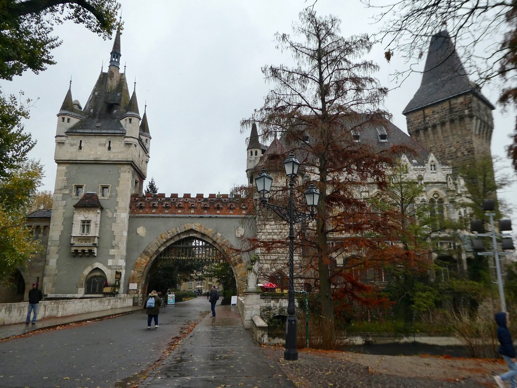 Entrance to the Vajdahunyad Castle in City Park, Budapest
