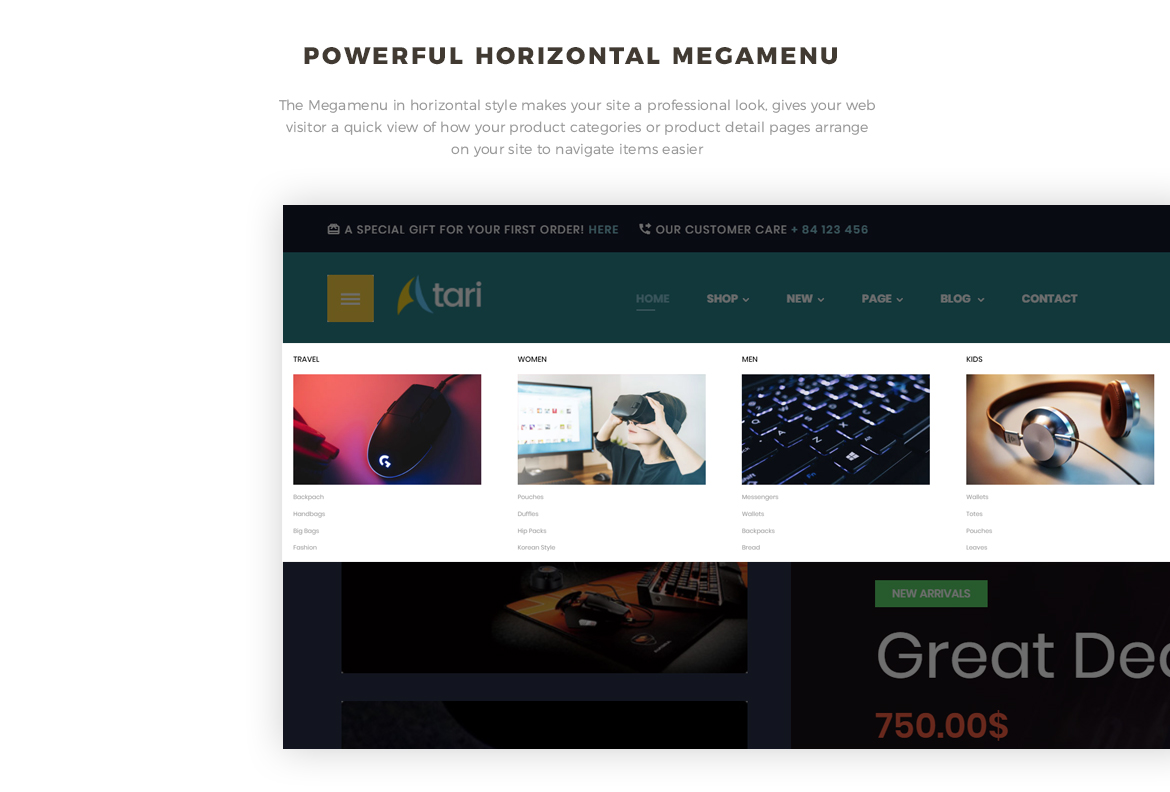 powerful horizontal mega menu- Bos Atari Gaming Prestashop theme