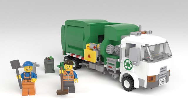 LEGO Automated Side Loading Garbage Truck with minifigs