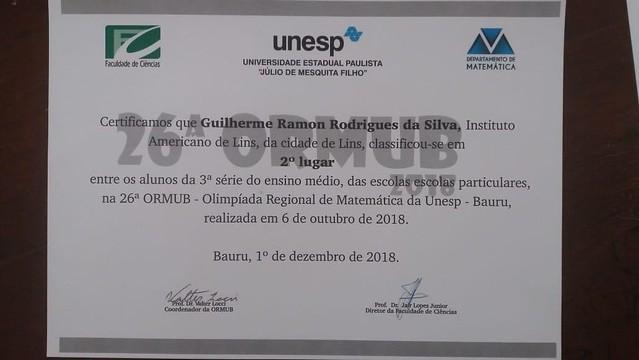 O aluno Guilherme Ramon Rodrigues da Silva da 3serie do EM classificou em 2lugar entre os alunos das 3series do EM das Escolas Particulares na ORMUB