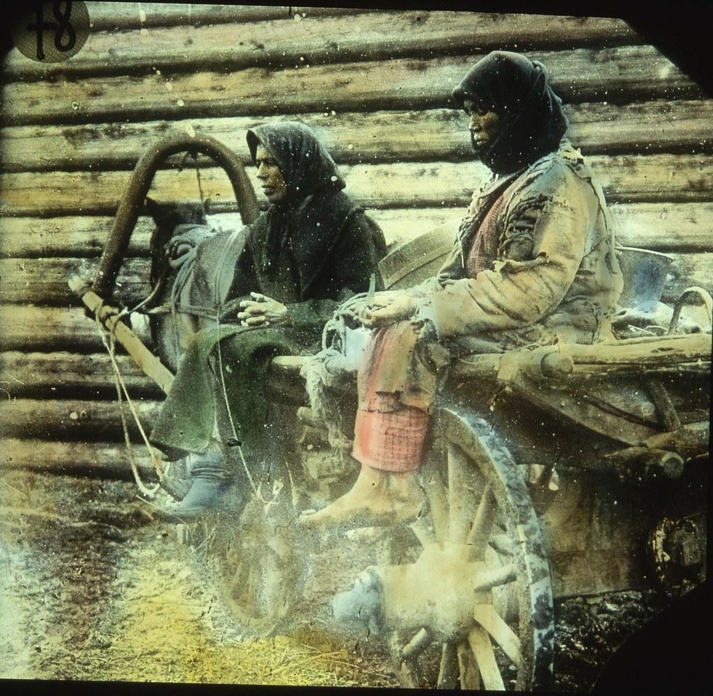 Крестьянки продают травы с повозки