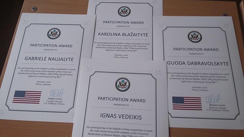JAV ambasados padėka
