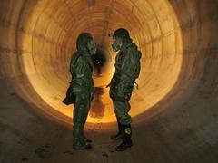 Explorers inside tunnel