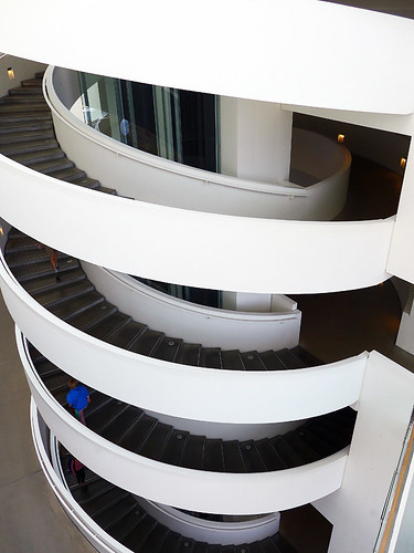 A spiral staircase in ArOS, the Modern Art Museum in Aarhus, Denmark