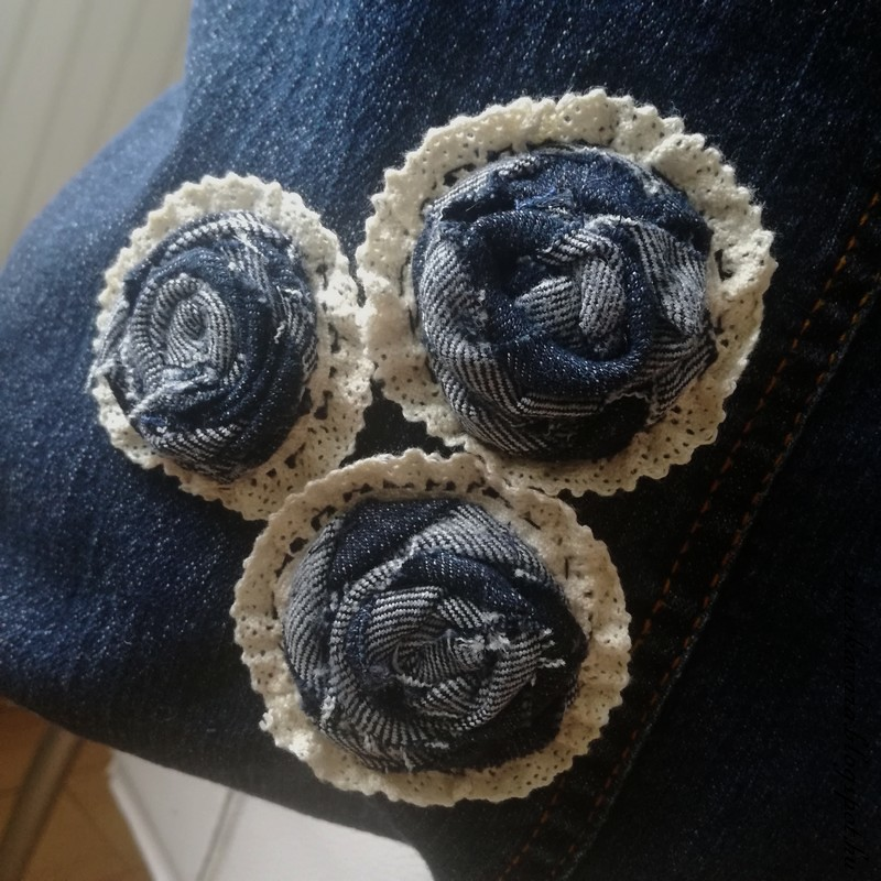 bag from jeans, easy bag, sewing, embroidery roses (4)
