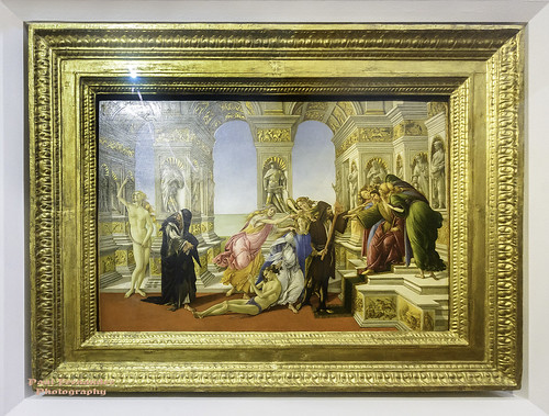 Sandro Botticelli's Calumny of Apelles at the Uffizi Gallery, Florence, Italy