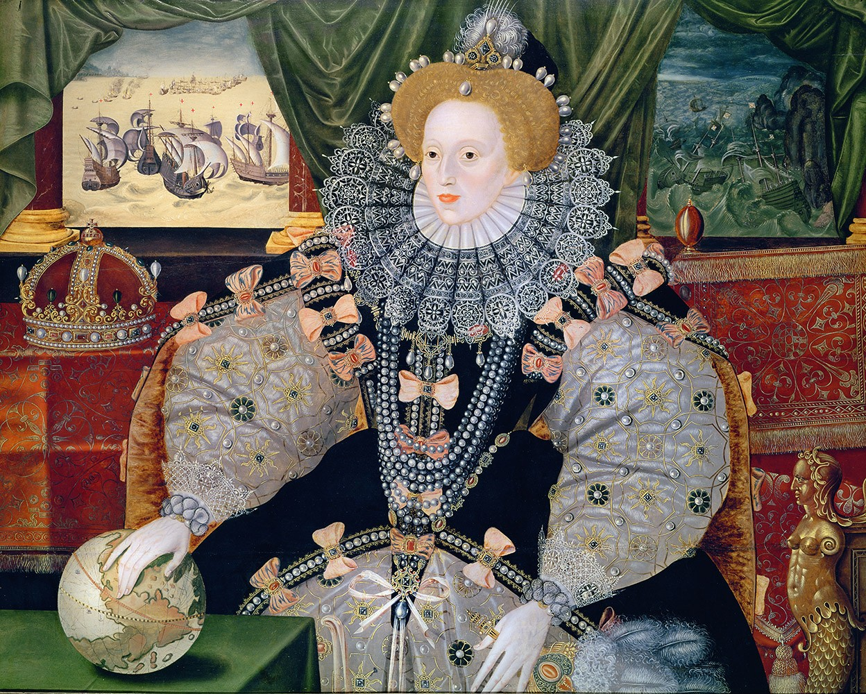 Portrait commemorating the defeat of the Spanish Armada, depicted in the background. Elizabeth's hand rests on the globe, symbolising her international power. One of three known versions of the