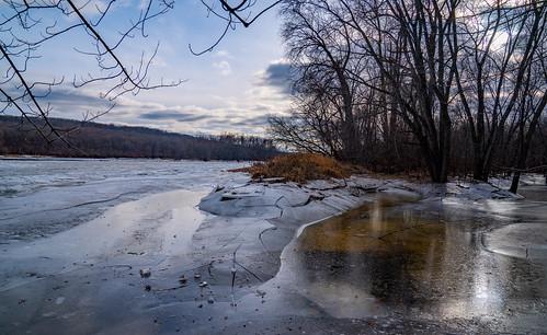 Icy Saint Croix River, Minnesota in WInter