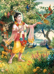Krishna plays with parrots