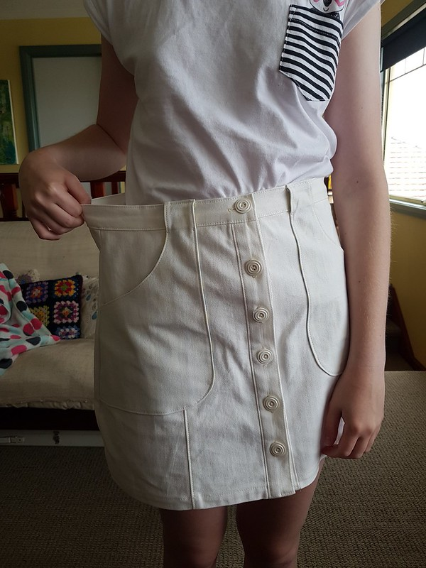 Modkid Mara skirt in white denim from M Recht
