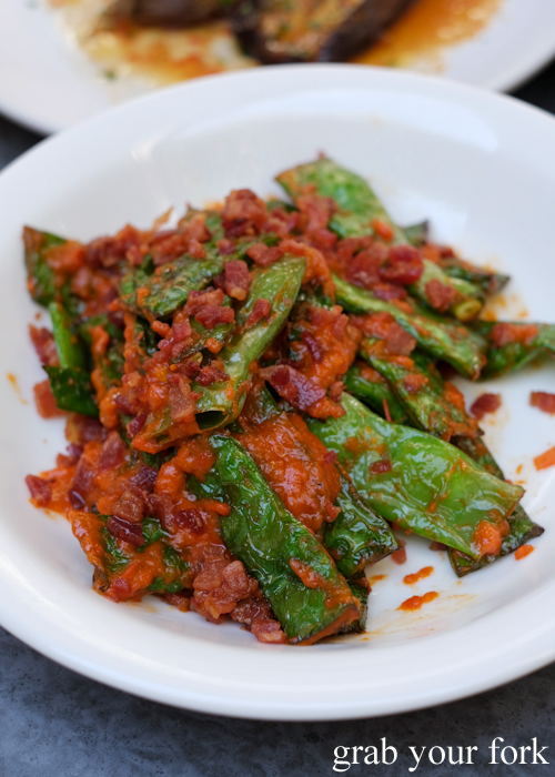 Roasted Roma beans, pancetta and red pepper dressing at Totti's by Merivale in Bondi