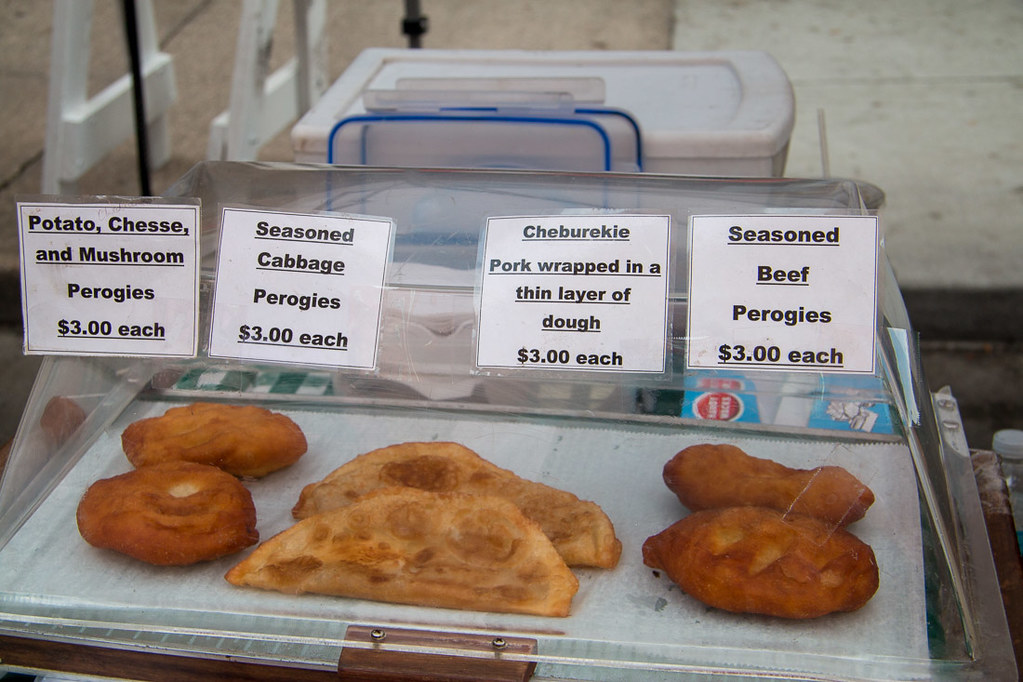 Pierogies and cheburekie at Des Moines Farmers Market