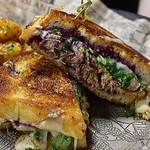 Serving Dinner & Drinks Till 10pm (Bar Open Late) : Duck Confit Grilled Cheese   Brie Cheese   @cabotcheese Sharp Cheddar   House Made Fig Jam With @luxardousa Cherries   Arugula   Caramelized Onions   Herb Butter Pressed Sourdough • • • • #foodnetwork #f