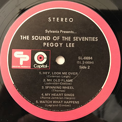 PEGGY LEE:SYLVANIA PRESENTS... THE SOUNDS OF THE SEVENTIES(LABEL SIDE-B)