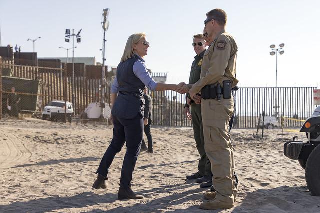 Secretary of Homeland Security Kirstjen M. Nielsen holds a press conference at Border Field State Park
