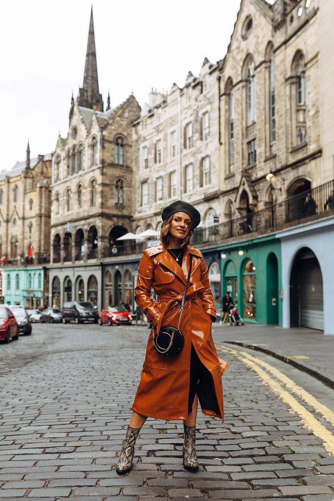 The Little Magpie tan River Island vinyl trench coat Edinburgh Charlotte Street