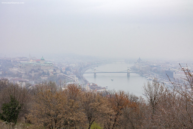 Vista dalla collina Gellért (Gellèrthegy), Budapest dall'alto