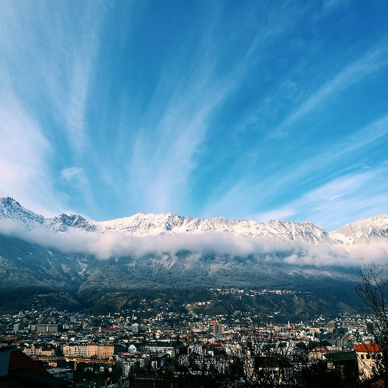 This is a view of the city of Innsbruck with the Nordkette in the background