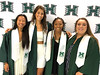 University of Hawaii at Manoa track and field graduates Nina Bean, Meg Jackson, Raion Black, and Karen Bulger at the campus' fall commencement ceremony on December 15, 2018.
