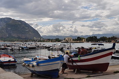 Au port de pêche, Mondello, Palerme, Sicile, Italie
