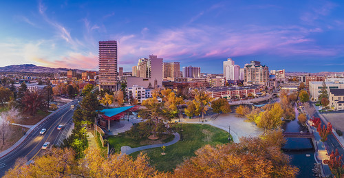reno nevada unitedstates us landscape river sky blue autumn fall colors nevadatravel riverwalk