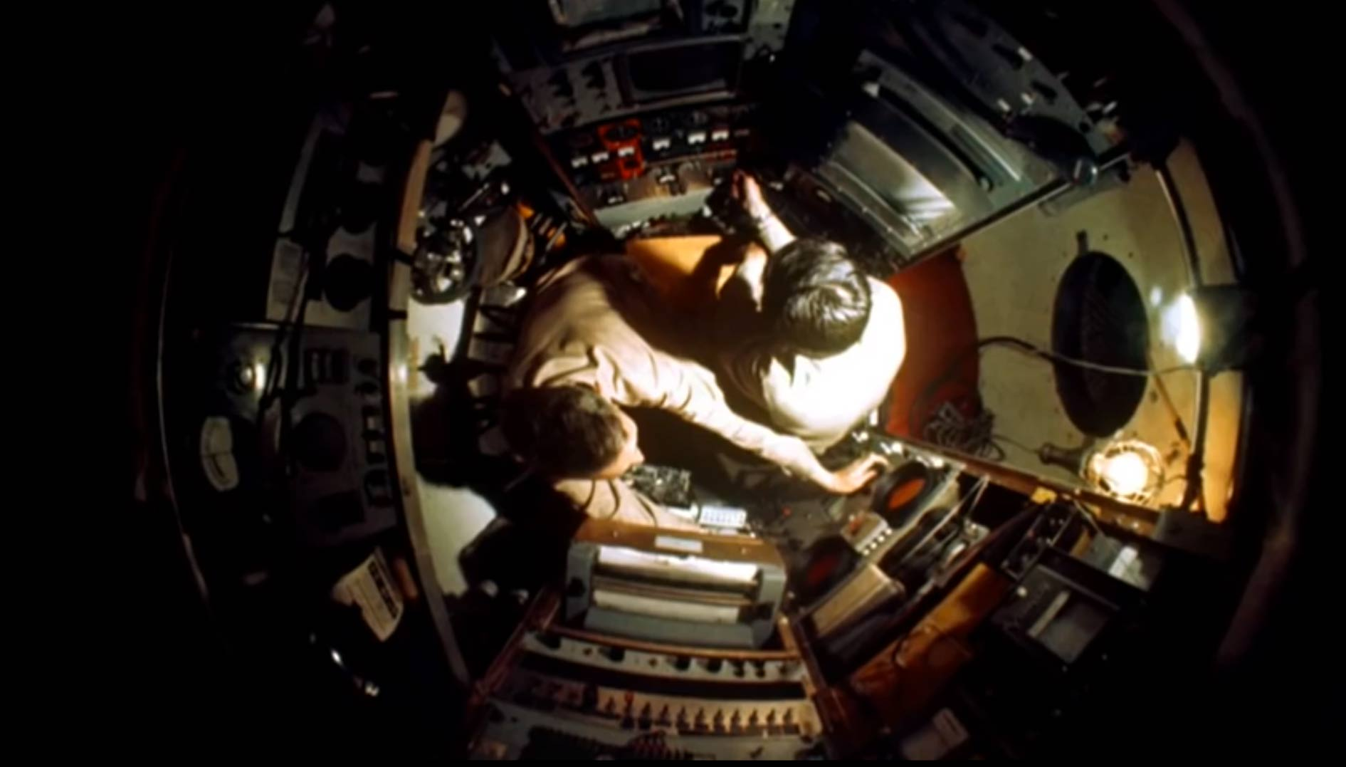 Jacques Piccard and Don Walsh in the Trieste's sphere during the record-breaking dive in the Marianas Trench, January 23, 1960.