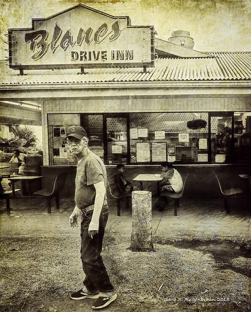 Man Outside Drive-Inn, Honokaa, Hawaii 2018