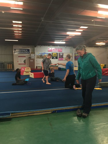 Getting his certificate at Gymnastics