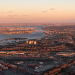 Sunset Aerial view over New Jersey on the way to Newark Airport