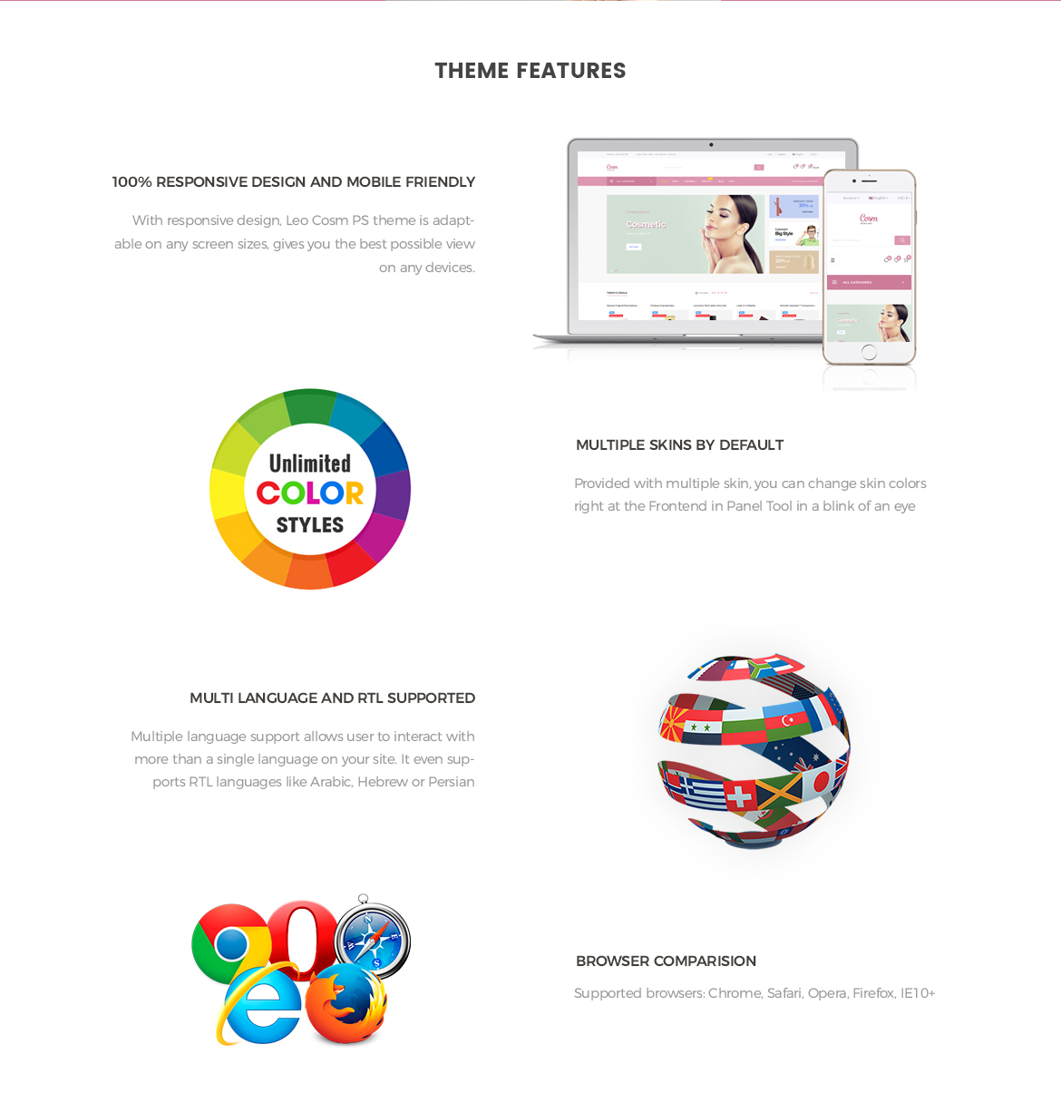 Prestashop 1.7 theme features-Leo Cosm Prestashop 1.7 theme - Cosmetic and Beauty Store - free install support