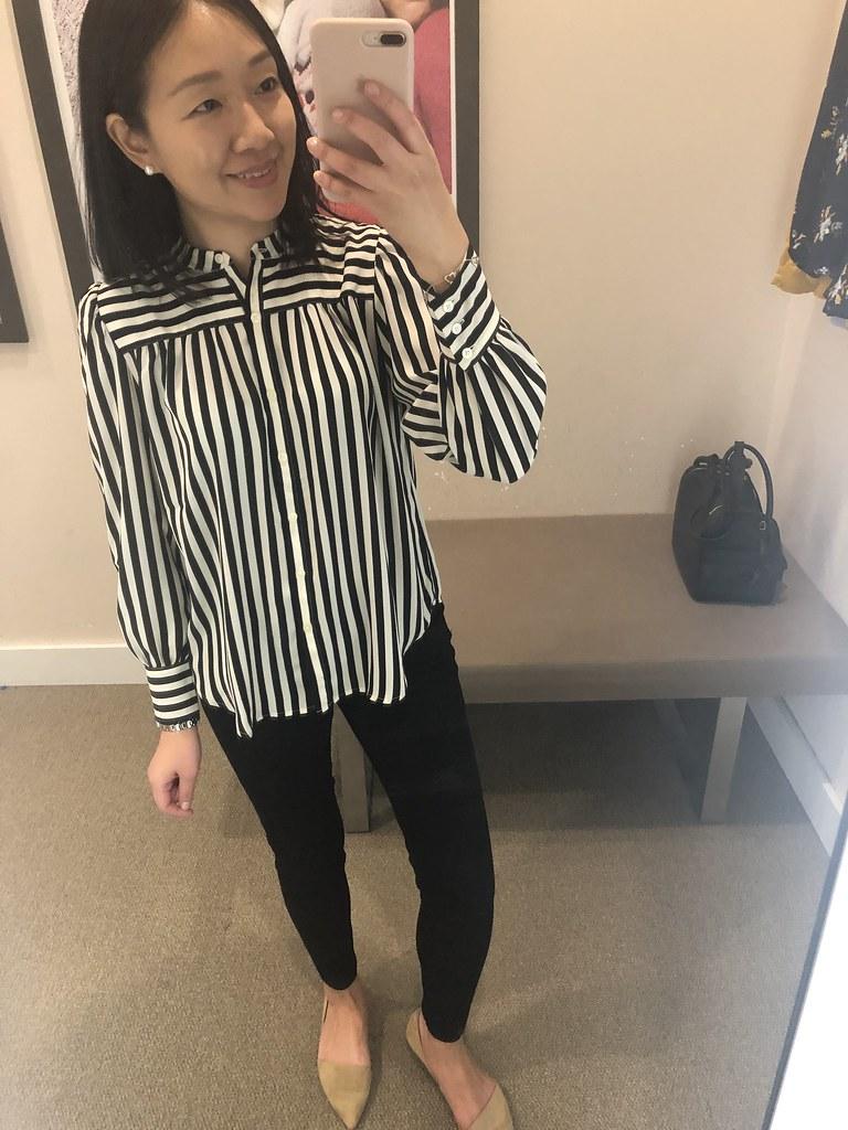 LOFT Mixed Stripe Puff Sleeve Blouse, size XSP