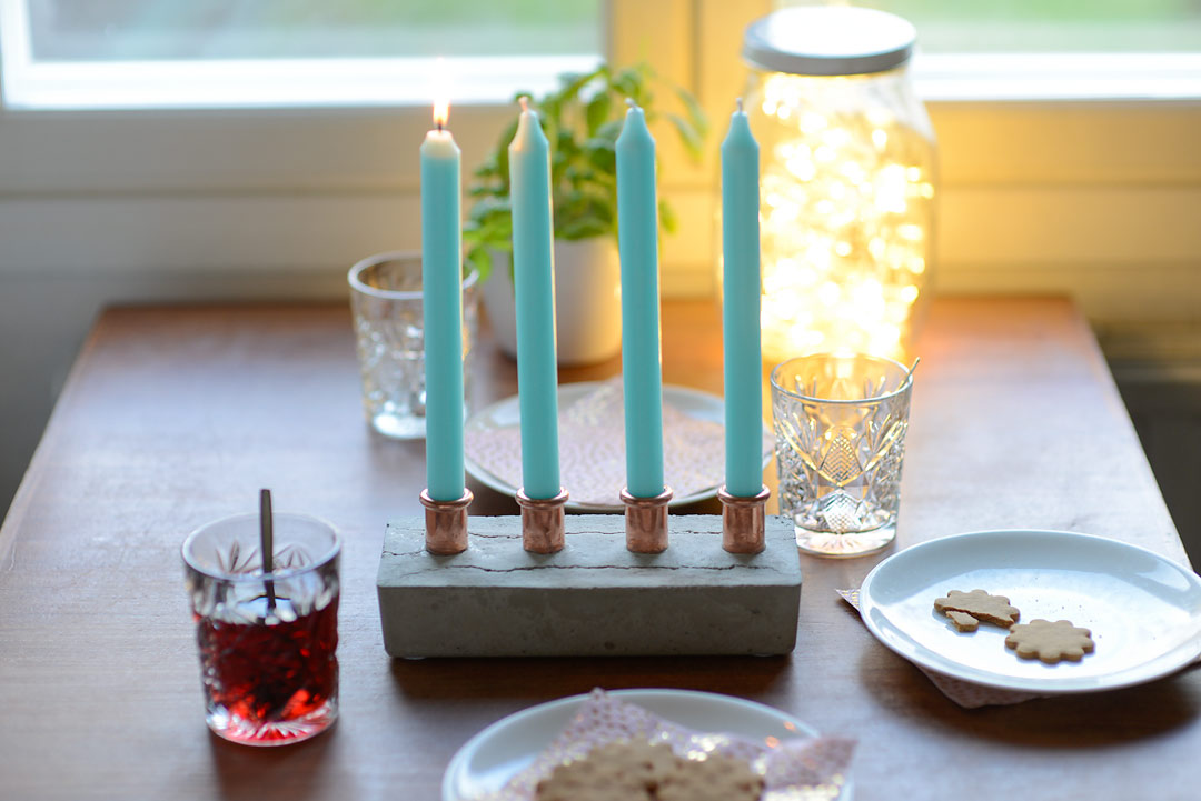 DIY Concrete and copper candelabra