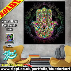 SOLD! #Hamsa #Hand #Psychedelic #Print > http://ow.ly/LEN730mFT3w     #Design by #BluedarkArt | Zippi Shop > www.zippi.co.uk/portfolio/bluedarkart