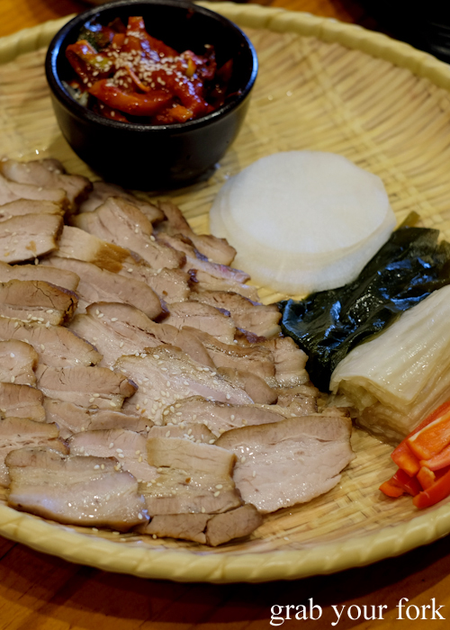Bossam pork napa wraps at Myeong Dong Korean Restaurant in North Strathfield