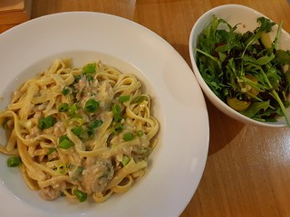 Creamy Linguine Carbonara with Panegrotto and Heritage Tomato and Rocket Salad at Two Tables (Graze)