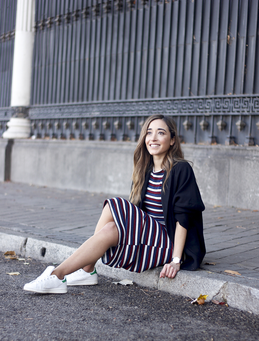 midi dress casual outfit adidas stan smith sneakers blazer street style outfit 20188115