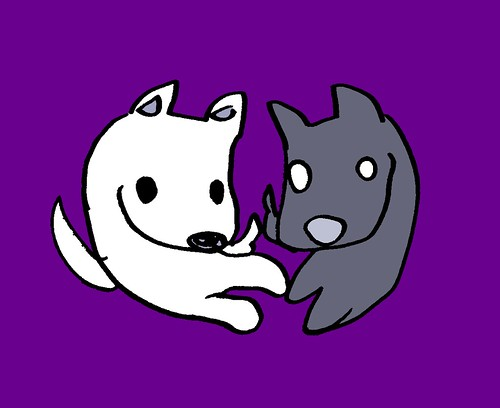 黒目と白目の勾玉犬