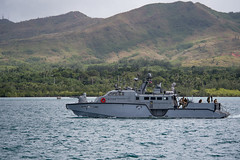 A Mark VI patrol boat assigned to Coastal Riverine Squadron 3 operates in waters along the coast of Guam, Dec. 28. (U.S. Navy/MC2 Kory Alsberry)
