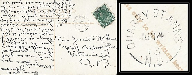 Nova Scotia / Cape Breton Postal History - 4 June 1913 - QUARRY ST. ANNS (Victoria County), N.S. (split ring / broken circle cancel / postmark) to Upper Baddeck River (Vicoria County), Nova Scotia
