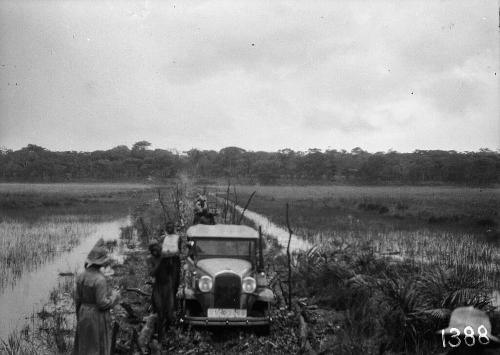 1388. Музец.  Автомобиль экспедиции проходит через болотистую местность по временному мосту из стволов деревьев