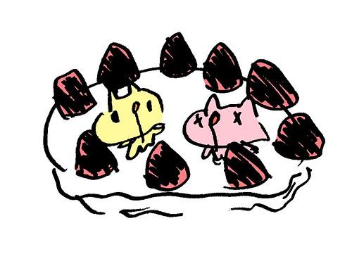ケーキの上のむー
