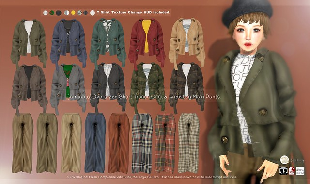 {amiable}Oversized Short Trench Coat & Wide Leg Maxi Pants@Soiree(50%OFF SALE).
