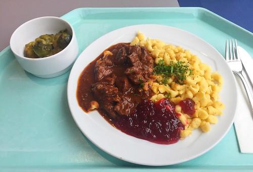 Wild boar goulash with cranberries & spaetzle / Wildschweingulasch mit Preiselbeeren & Spätzle